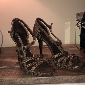 Tory Burch brown snakeskin pumps